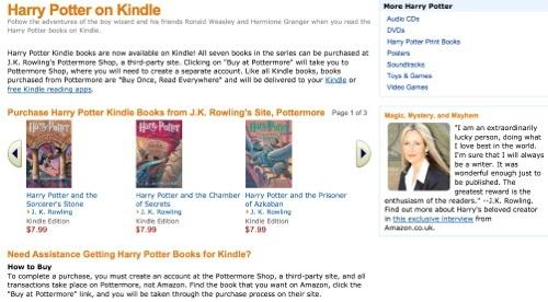 Sobre la venta de e-books de Harry Potter, Pottermore y Amazon del otro lado del juego
