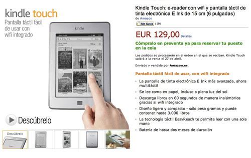Kindle Touch llega a España y el resto de Europa