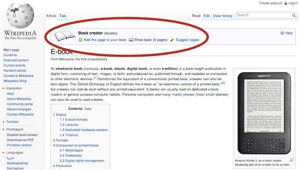 Convierte los artículos de Wikipedia en un libro electrónico