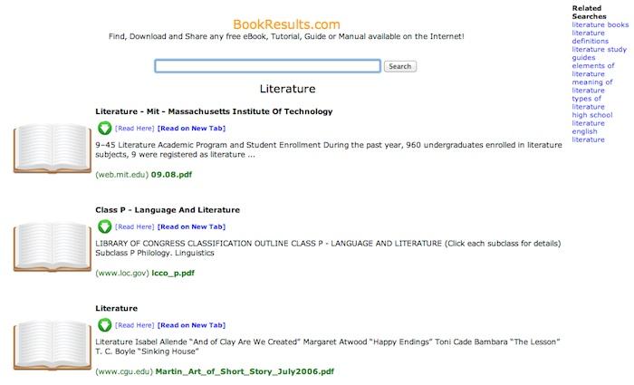 Bookresults, para descargar libros electrónicos gratuitos