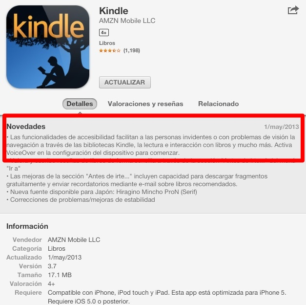 kindle update for blind people