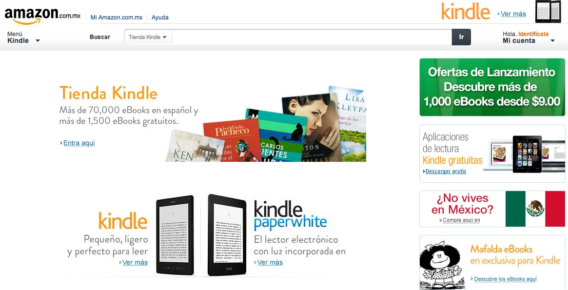 Amazon lanza Kindle Store en México