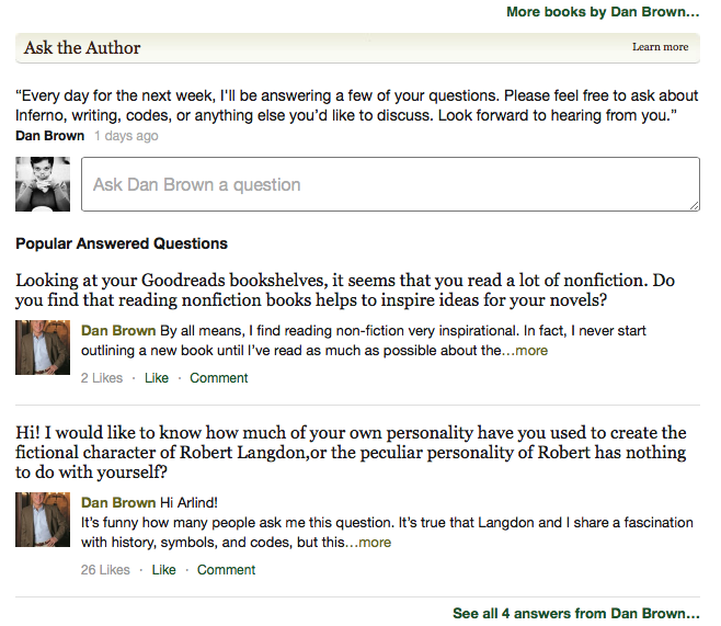 Dan Brown answers on Goodreads
