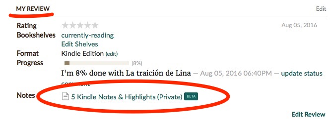 Kindle Notes & Highlights en Goodreads